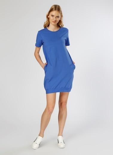 T-Box Kısa Kollu Mini Elbise Saks